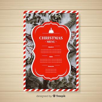 Reizende weihnachtsmenüschablone mit foto
