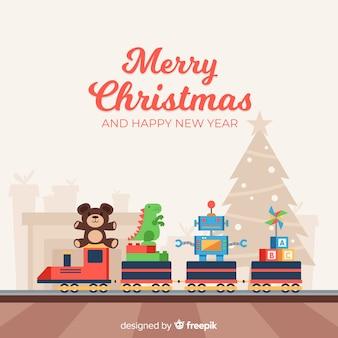 Reizende weihnachtszusammensetzung mit bunten spielwaren