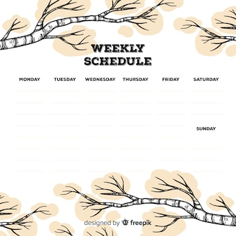 Reizende wöchentliche zeitplanschablone mit hand gezeichneten niederlassungen