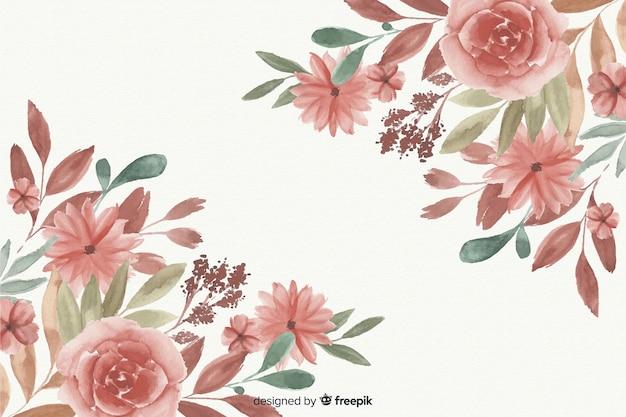 Reizender aquarellblumenrahmenhintergrund Kostenlosen Vektoren