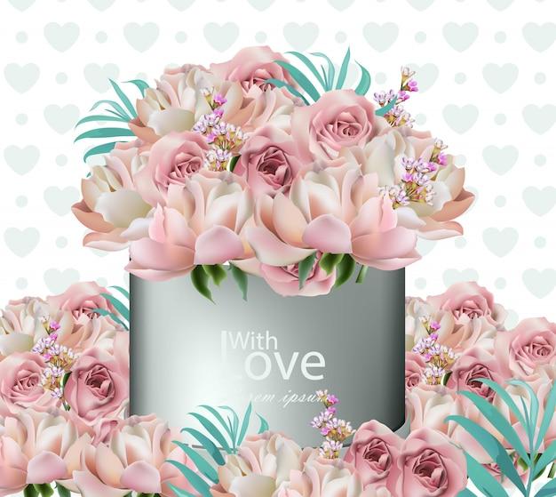 Reizender blumenblumenstrauß, rosen, pfingstrose und lavendel