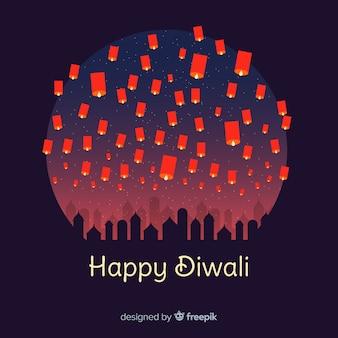 Reizender Diwali Hintergrund mit flachem Design