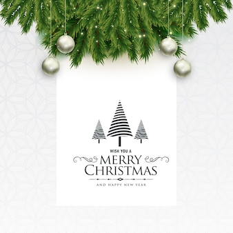 Reizender gruß der frohen weihnachten mit blättern und bällen