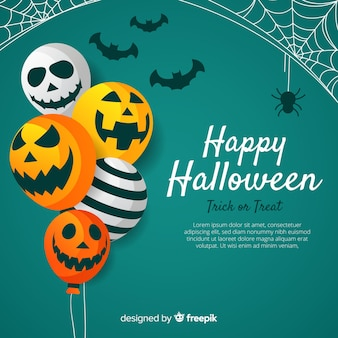 Reizender halloween-hintergrund mit flachem design
