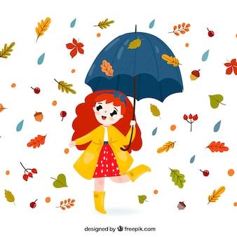 Reizender herbsthintergrund mit mädchen mit regenschirm und blättern