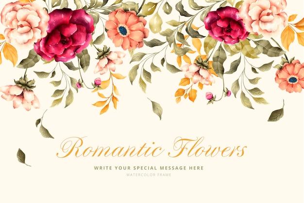 Reizender hintergrund mit romantischen blumen