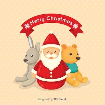 Reizender hintergrund mit weihnachtsspielwaren