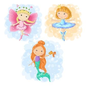 Reizender karikaturmädchenschmetterling, ballerina und eine meerjungfrau.