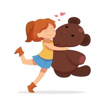 Reizender mädchencharakter, der teddybären umarmt