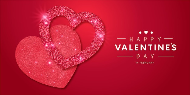 Reizender rahmen des glücklichen valentinstags mit glänzender vorlage der realistischen herzen