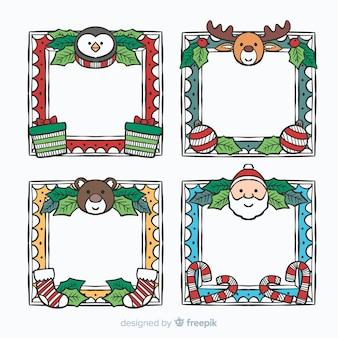 Reizender satz hand gezeichnete weihnachtsrahmen
