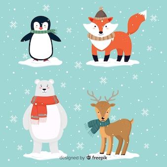 Reizender satz hand gezeichnete wintertiere
