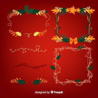 Reizender satz weihnachtsgrenzen und -rahmen