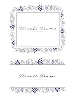 Reizender schöner blumenrahmenkranz-logohintergrund