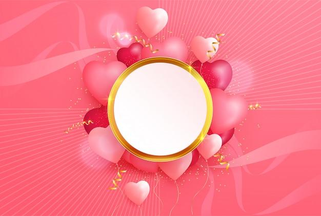 Reizender valentinstag mit herzen 3d und goldenem element