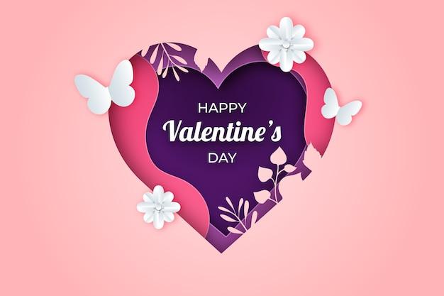 Reizender valentinstaghintergrund in der papierart