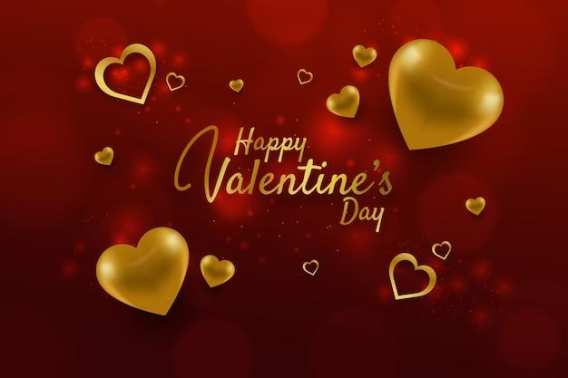 Reizender valentinstaghintergrund mit goldenen elementen