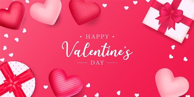 Reizender valentinstaghintergrund mit herzen und geschenken