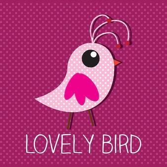 Reizender vogel mit rosa hintergrundvektorillustration