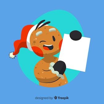 Reizender weihnachtscharakter, der leere schablone anhält