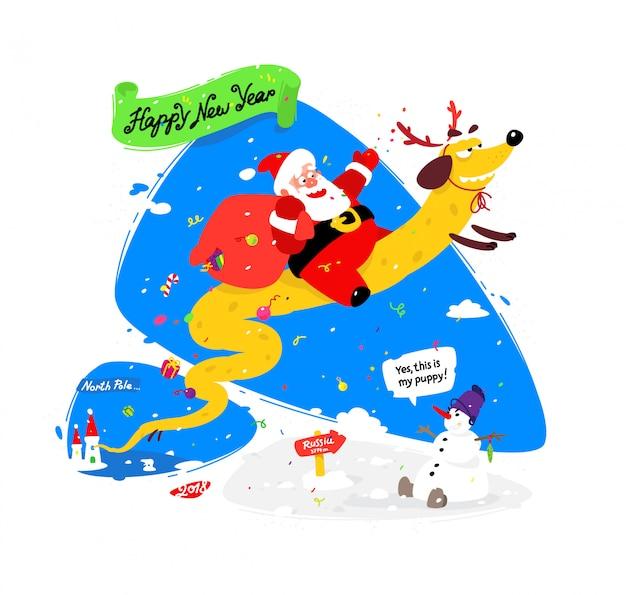 Reizender weihnachtsmann auf einem gelben hund. chinesisches neujahr und weihnachten