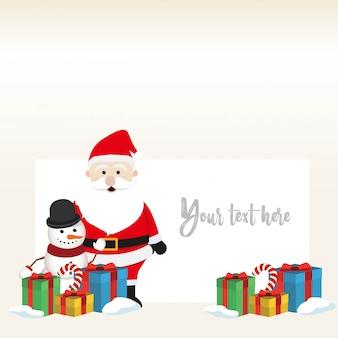 Reizender weihnachtsschneemann- und weihnachtsmannhintergrund