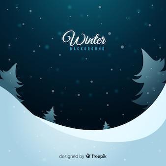 Reizender winterhintergrund mit flachem design