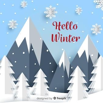 Reizender winterhintergrund mit papierbeschaffenheit