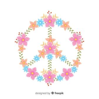 Reizendes Friedenssymbol mit Blumenart
