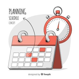 Reizendes hand gezeichnetes planungszeitplankonzept