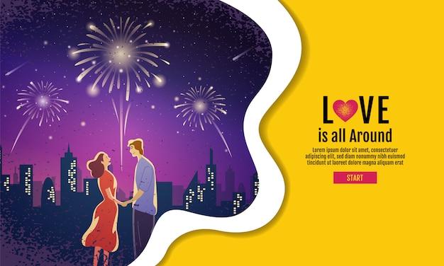 Reizendes paar, valentinstag, festival, landschaftsnachthintergrund
