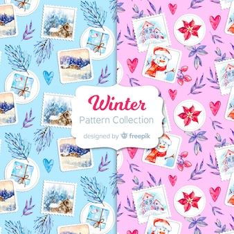 Reizendes set bunte wintermuster