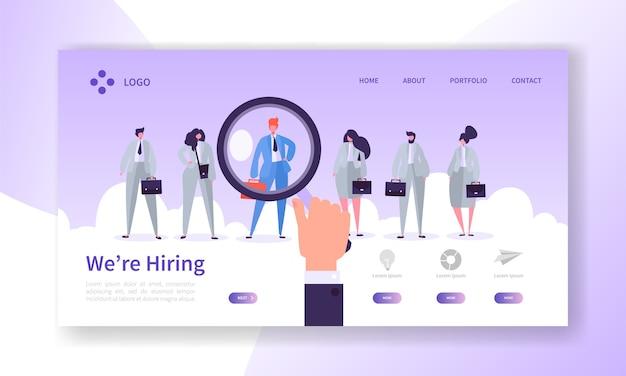 Rekrutierung best candidate concept landing page. hr auf der suche nach neuen kandidaten. handlupe wählen sie eine einzelne person aus der website oder webseite der personengruppe aus. flache karikatur-vektor-illustration