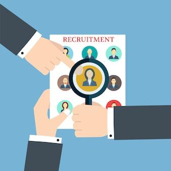 Rekrutierung. das profil durchsuchen. personalbeschaffung und -ressourcen