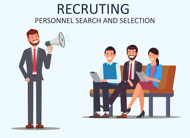 Rekrutierung der personalsuche und -auswahl. vektor.