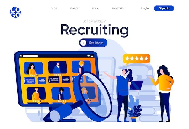 Rekrutierung einer flachen zielseite. hr-manager sorgfältig studiert lebensläufe der kandidaten illustration. personalmanagement und zusammenstellung von webseiten für mitarbeiter mit personencharakteren.