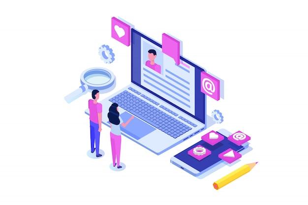 Rekrutierung, isometrisches konzept für die jobsuche. verwendung für präsentation, soziale medien, karten, web-banner. illustration