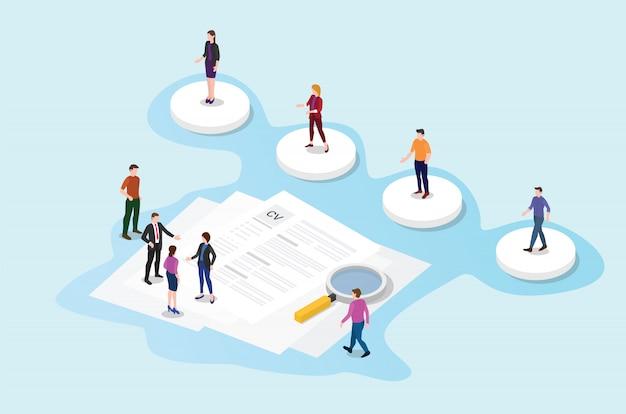 Rekrutierung oder rekrutierungsprozess mit kandidaten mit lebenslauf-papierdokument