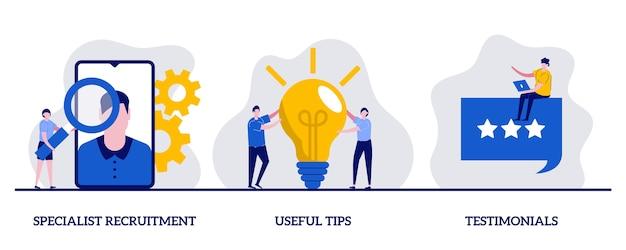 Rekrutierung von spezialisten, nützliche tipps, testimonials-konzept mit winzigem charakter und symbolen