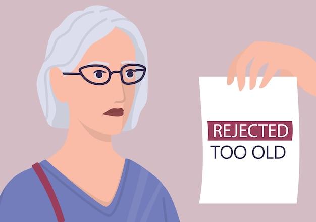 Rekrutierungs-ageismus-konzept. hr-spezialist lehnt einen lebenslauf einer alten frau ab. ungerechtigkeit und beschäftigungsproblem von senioren. die personalabteilung stellt keine personen im alter von 50 jahren ein