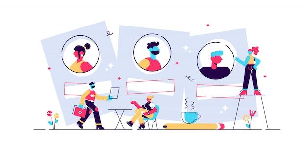 Rekrutierungs- und arbeitsvermittlungsdienst. personalagentur und headhunting-unternehmen. vorstellungsgespräch, beschäftigungsprozess, auswahl eines kandidatenkonzepts. isolierte konzept kreative illustration