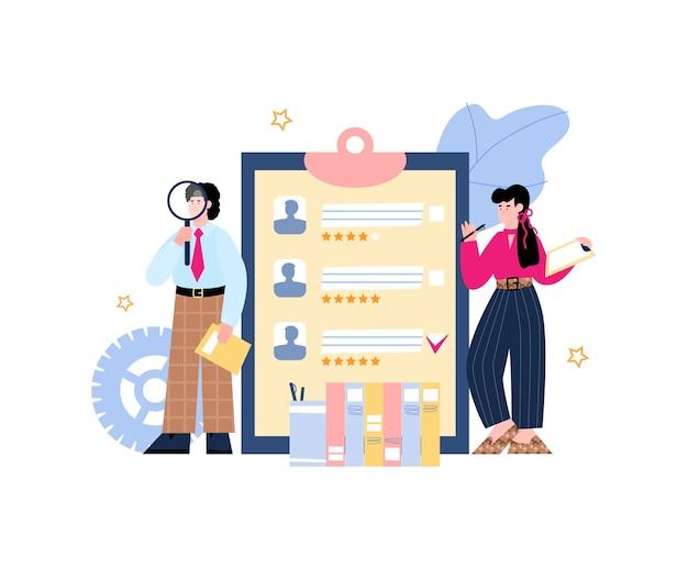 Rekrutierungs- und einstellungsbanner mit personalmanagern