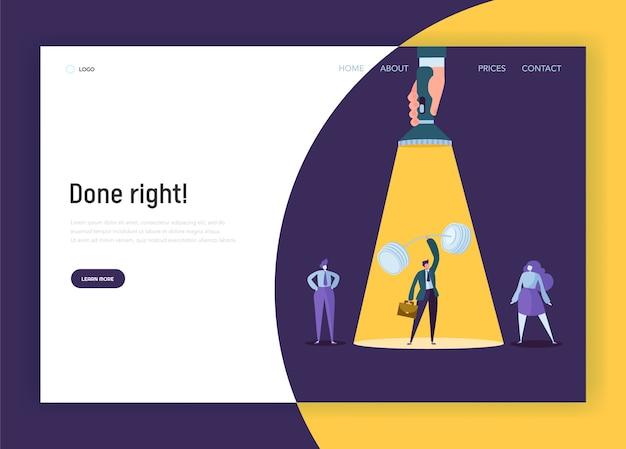 Rekrutierungsführung creative idea concept landing page. hand mit taschenlampe zeigt auf starken geschäftsmann charakter. personalwebsite oder webseite. flache karikatur-vektor-illustration