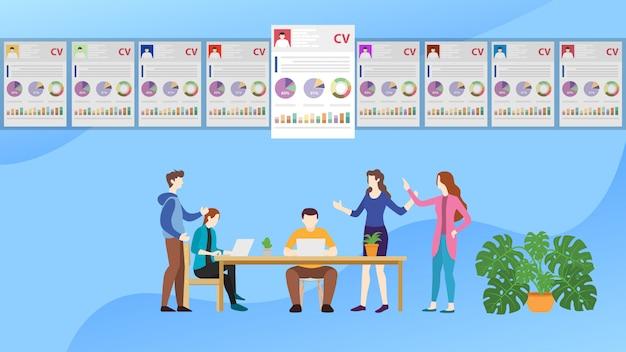 Rekrutierungskonzept-team wählt den besten kandidaten-mitarbeiter aus