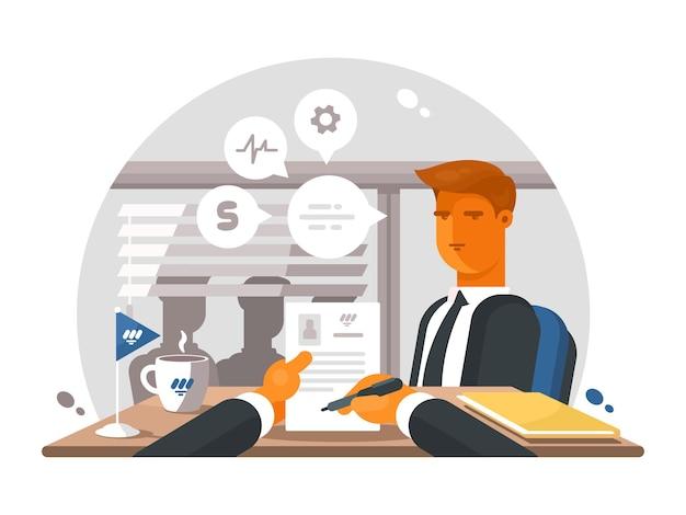 Rekrutierungsprozess im büro. interviewen und wieder zuschauen. illustration