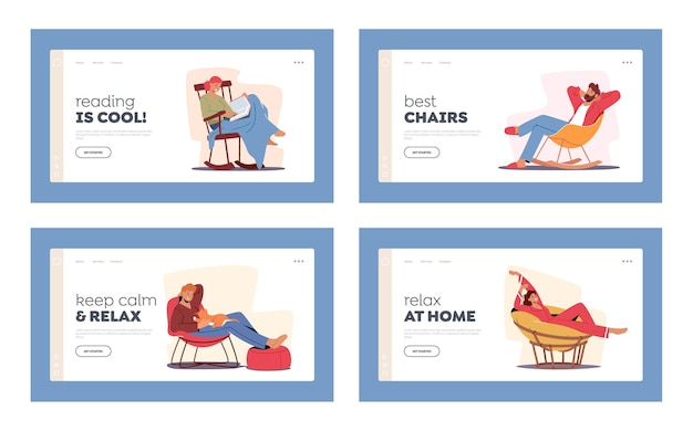 Relaxing people landing page template set