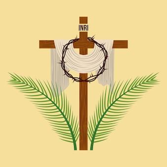 Religiöse kreuzkrone und palmzweige