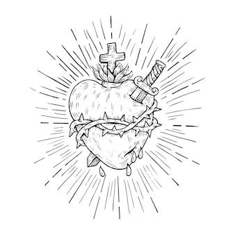 Religiöse skizzen des heiligen herzens