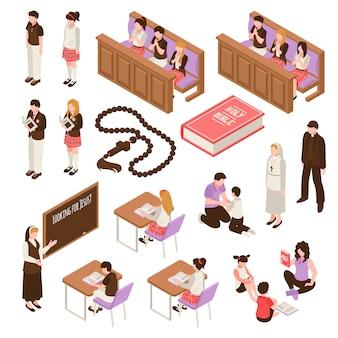 Religiöser bildungssatz isometrische ikonen, die an den sonntag-schulkindern während des betens lernen, lokalisierte illustration