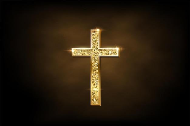 Religiöses kruzifixsymbol auf braunem nebelhintergrund goldenes glänzendes orthodoxes kreuz